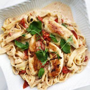 Pasta med kylling og hvidvin