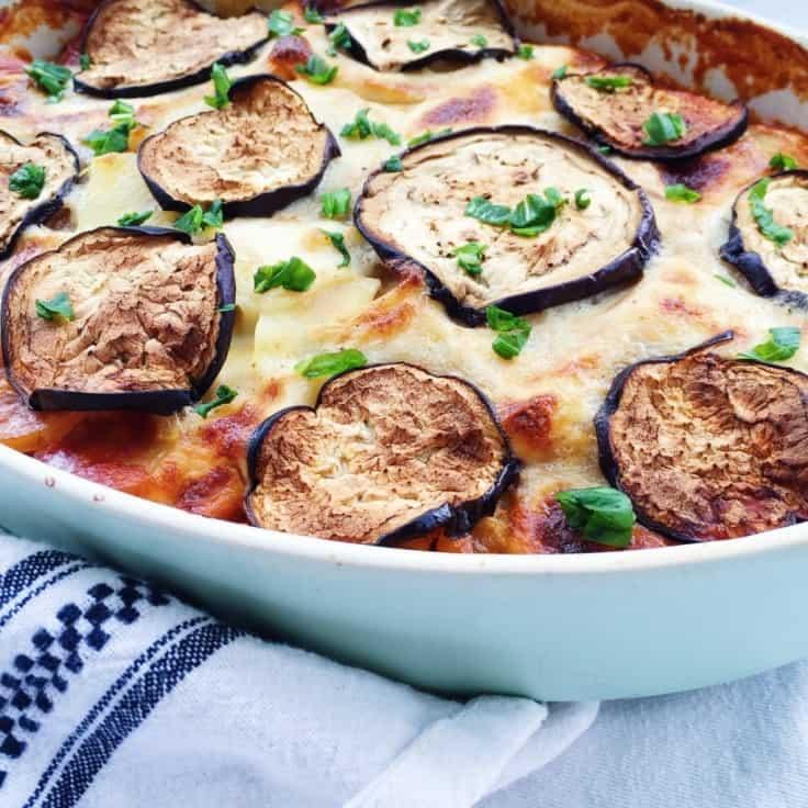 Vegetarisk moussaka med aubergine