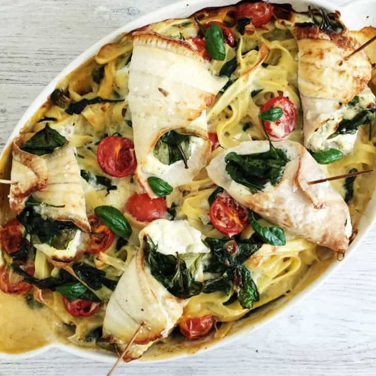 Rødspættefileter fyldt med spinat og ost