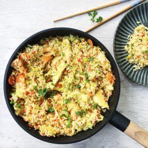 Stegte ris med kylling