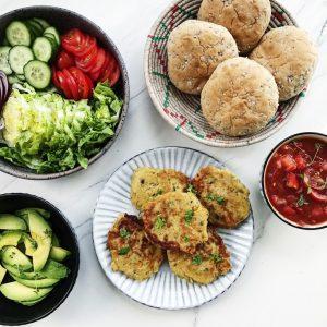 Vegetarburger med kikærtebøffer