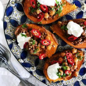 Fyldte sødekartofler