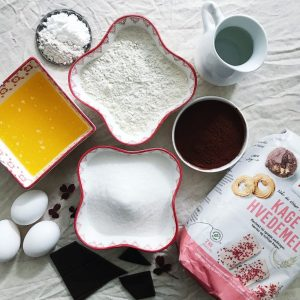 Ingredienser til chokoladekage