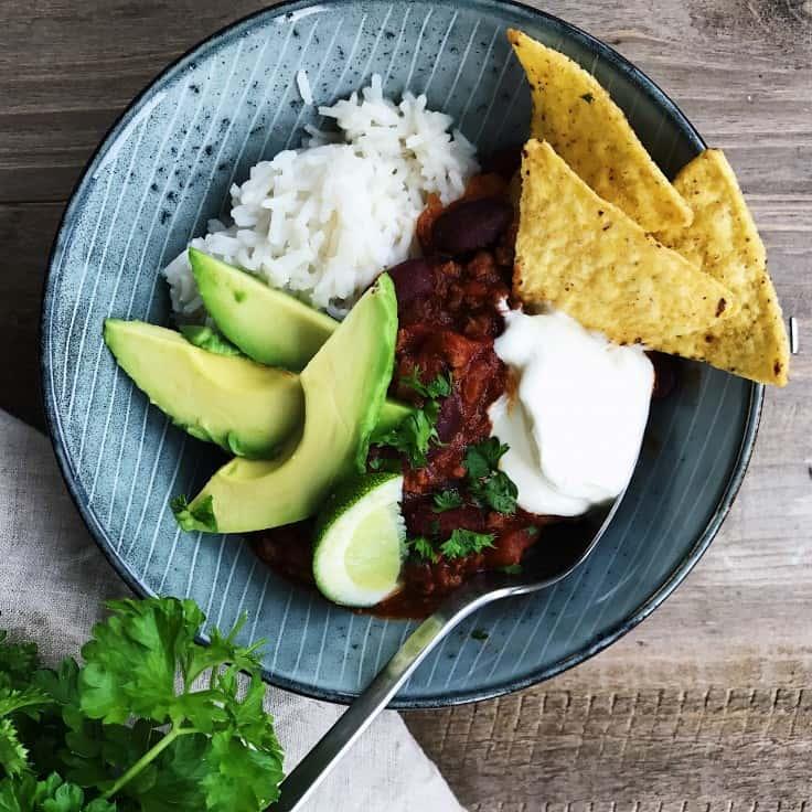 Chili con carne med oksekød og bønner