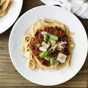 Spaghetti bolognese ingredienser