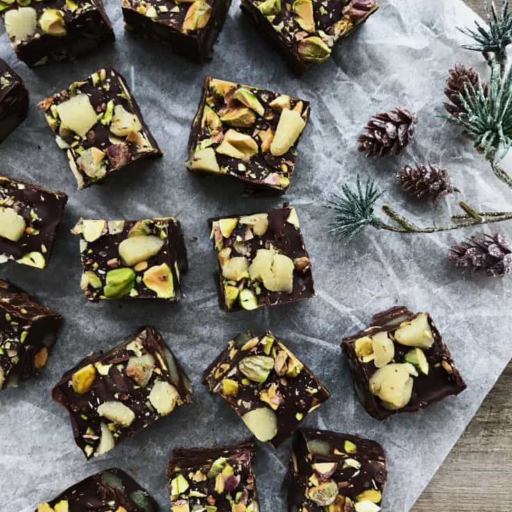 Chokoladekonfekt med pistacie
