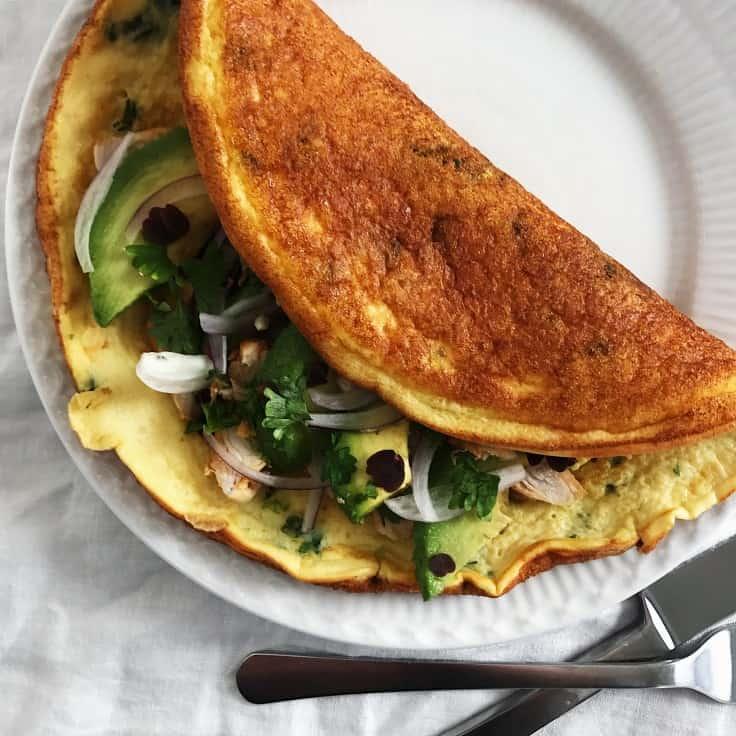 Æggewrap med kylling og avokado