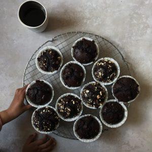 Muffins med kaffe og chokolade