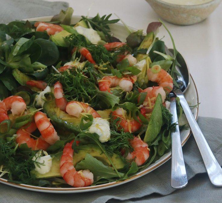 Salat med rejer og avokado