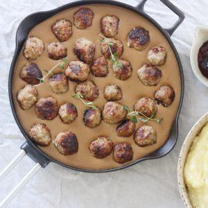 Svenske kødboller og kartoffelmos