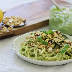 Cashewpesto med spaghetti