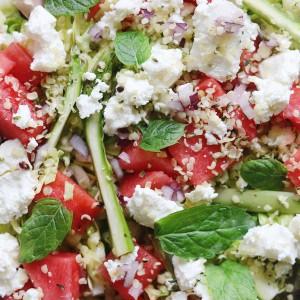 Grøn salat med fetaost