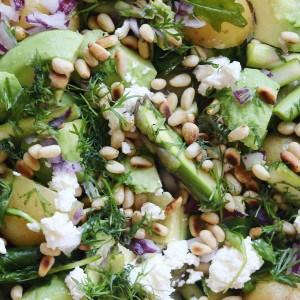 Salat med kartofler og asparges