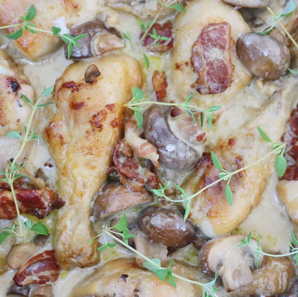 Kylling i svampesauce med timian