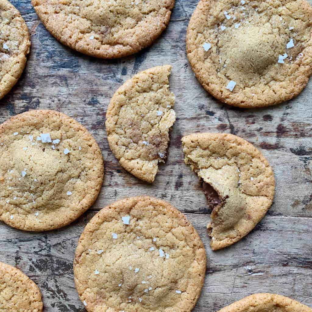Cookies med nutella og flagesalt