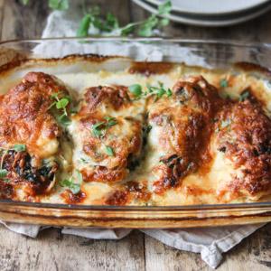 Kylling med ost og spinat