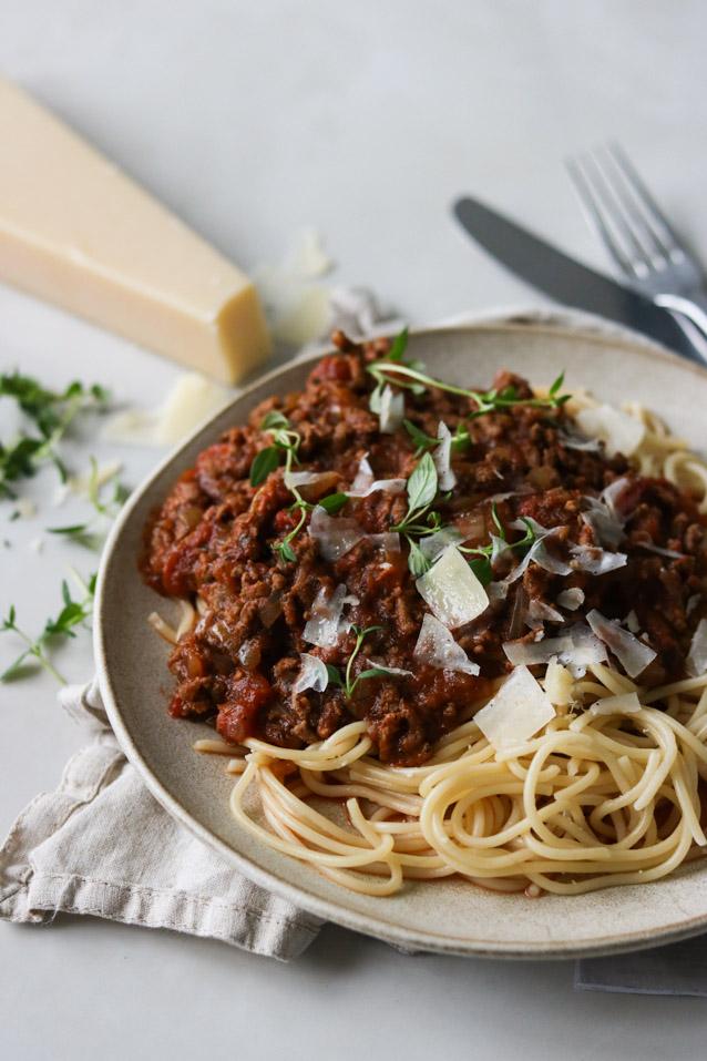 Spaghetti med kødsauce