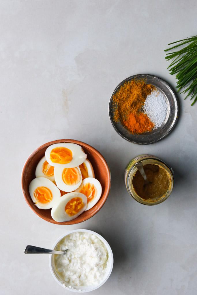 Ingredienser til æggesalat