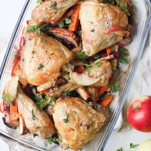 Kylling med æbler